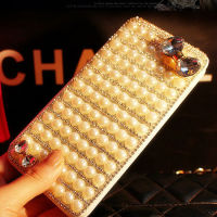 Strong Diamond Leather Flip Case for iPhone,Rhinestone Folio Book Case for Moible Phone