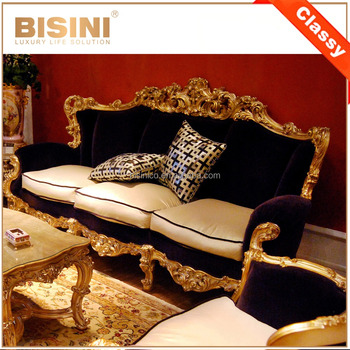 French Style Purple Fabric Living Room Sofa Set/ Luxury Classic Gold Leaf Wooden Carving Sofa