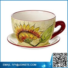 wholesale flower cup and saucer planter decor ceramic planter