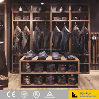 Lady clothing shop design manufacture clothes display furniture wooden display shelves