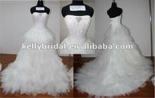 2012 July New Style Wedding Dress with colored Tulle Embroidery Lace Bridal Gown