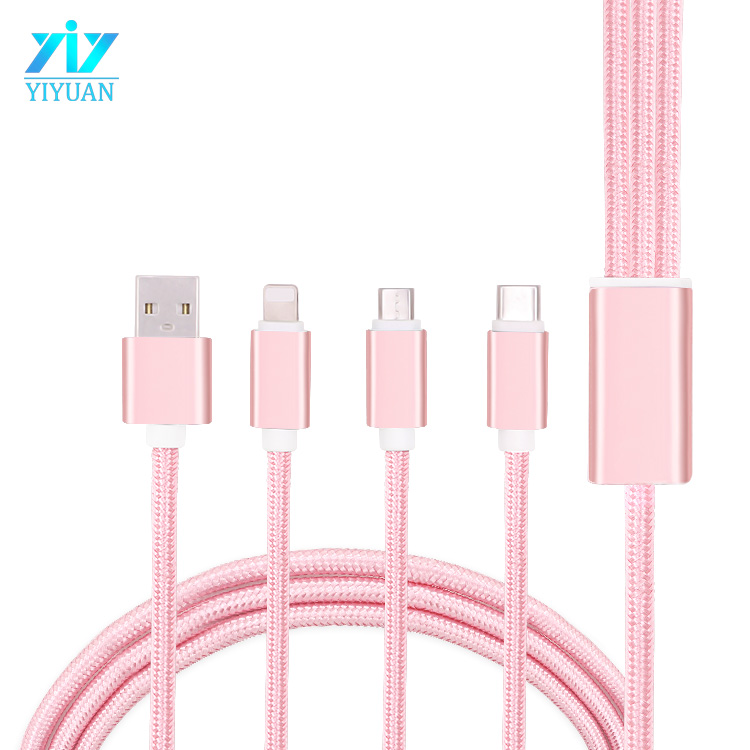 Nylon braided 3 in <strong>1</strong> Charging USB Cable for Micro USB/type <strong>c</strong>/8pin for smart phone cable charger