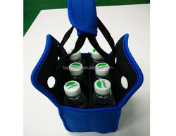 Customized neoprene 6 six pack water bottle cooler tote carrier