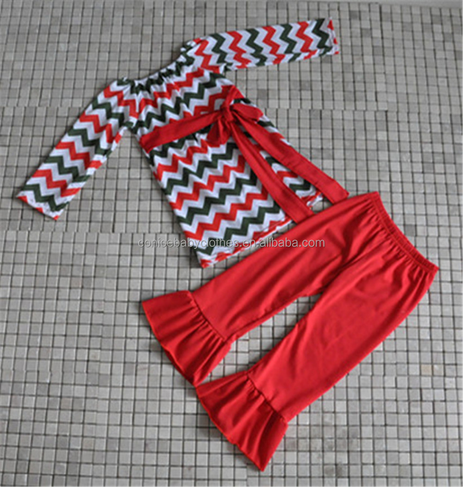 korean style kids chevron ruffle clothes toddler girls christmas boutique clothing with belt