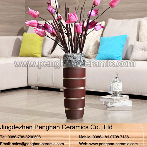 Chinese factory direct tall flower floor ceramic home decor vase