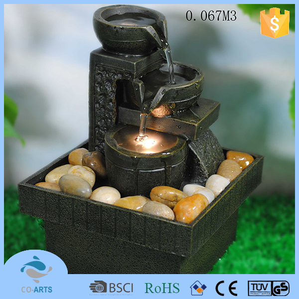 Polyresin 3 tier led light illuminated fountain