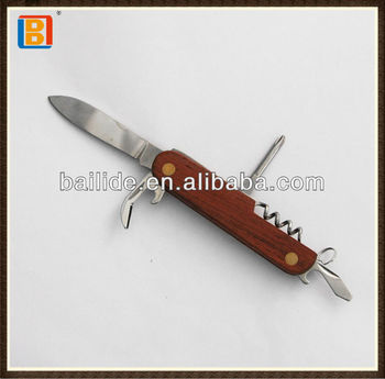 2017 Simple Design Wooden Folding Pocket Multipurpose Swiss Knife With Opener