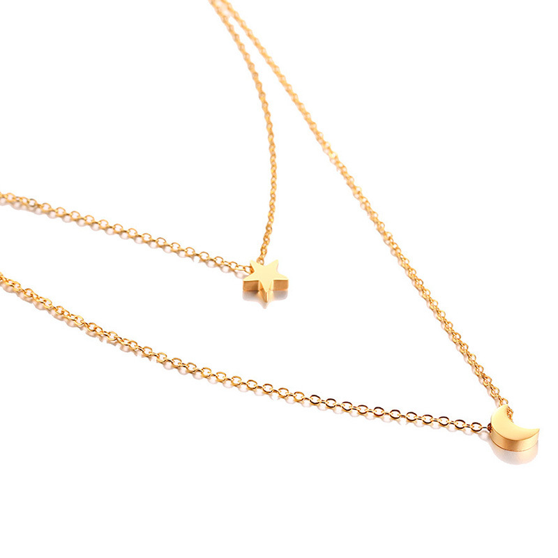Simple and Elegant  Gold Double Layer Layering Minimalist Moon Star Layered Stainless Steel  Necklace