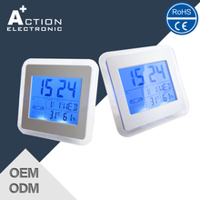 2016 New Design Digital Weather Station Blue LED Backight Clocks With Humidity And Temperature