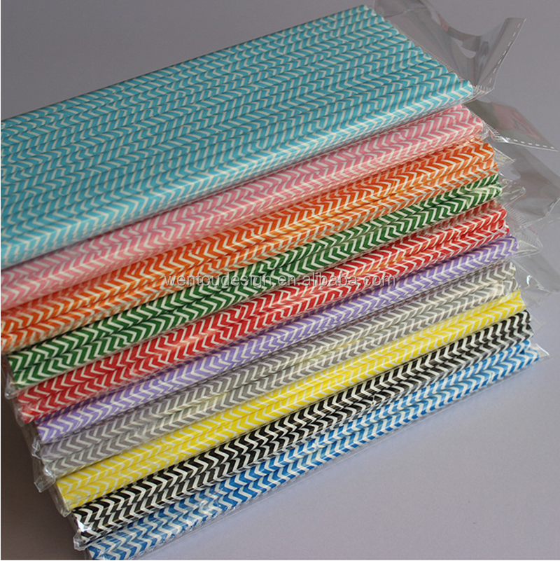 striped paper straws wholesale Vicloon 175pcs paper drinking disposable straws, colorful stripes disposable decoration paper drinking straws for for birthday, wedding.