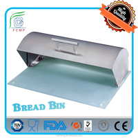 Modern Design Rolltop Steel Bread Storage Box with Food Standard Glass Base