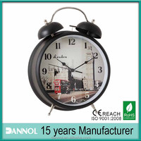 "Guangzhou 8""Metal Quartz picture printed alarm time clock"