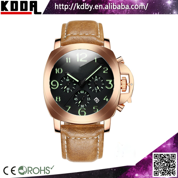 La manufacturer rectangle big crown watch chronograph quartz multifunctional military watch rose gold plating