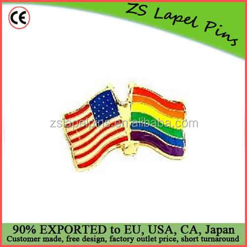 Custom top quality enamel RainboW USA Flags Lapel Pin