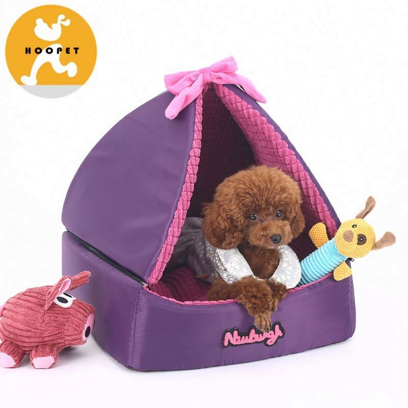 Beautiful purple dog bed luxury triangle tent for pet