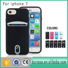 Rainbow Fancy Dual Color Credit Card Slot Holder Phone Cover For iPhone 7 PC TPU Hybrid i7 Case