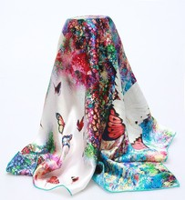 Digital butterfly print square silk scarf wholesale china factory