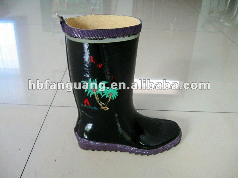 Women's Black Anti-slip Natural Rubber Work Boot