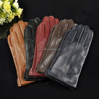 Classic style colorful concise sheepskin women leather winter gloves