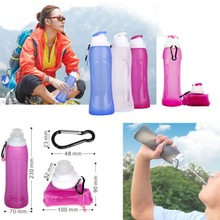 Foldable Silicone Printed Customised Sports Water Bottles 500ml