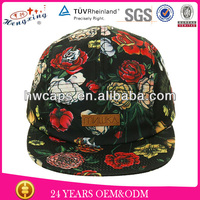 Most popular beautiful print pattern leather patch floral 5 panel hat