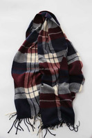 Fashion faux cashmere acrylic plaid long mens scarf