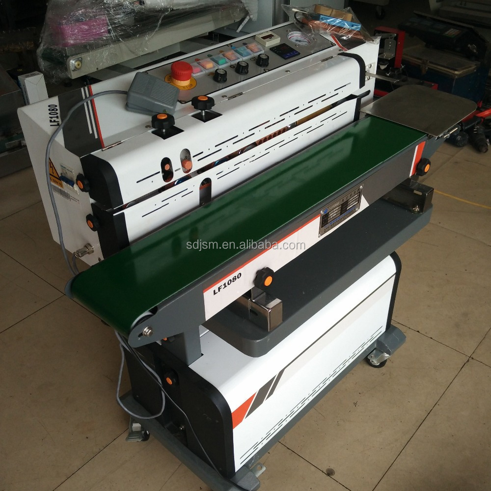 Nitrogen gas flushing continuous band sealer sealing machine with printing