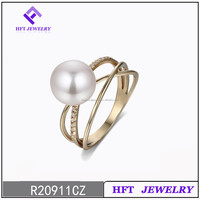 New developed yellow gold plated 925 sterling silver pearl ring