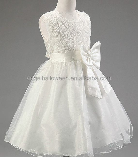 Summer White Pretty Party Flower Girls Princess Wedding Bridesmaid Dress Halloween Costume AGQ4094