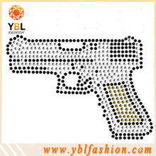Gun design SS10 iron on custom rhinestone transfer