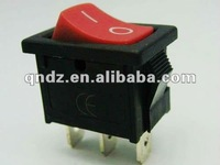 3 ways rectangle red lighted rocker switch