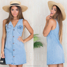 New design denim one piece dress light wash V-neck women denim dress