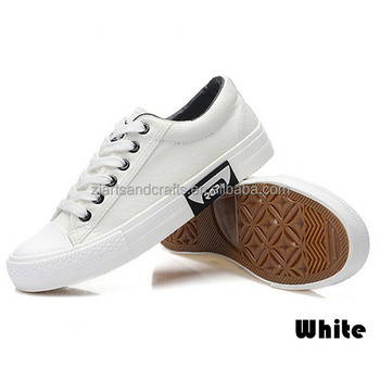 White flat vulcanized casual woman shoe canvas shoes for unisex