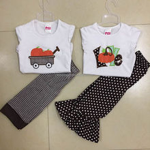 Western Winter Boutique Outfit Wholesale Girls Halloween Pumpkin Printed Fall Clothes