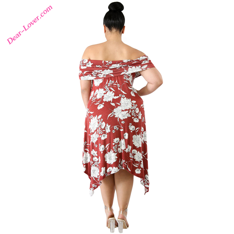 Burgundy Plus Size Floral Print Off Shoulder Curvy Dresses Women
