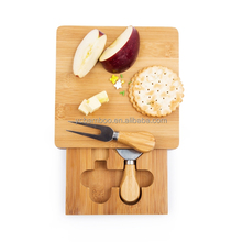 square bamboo wooden mini cheese board set
