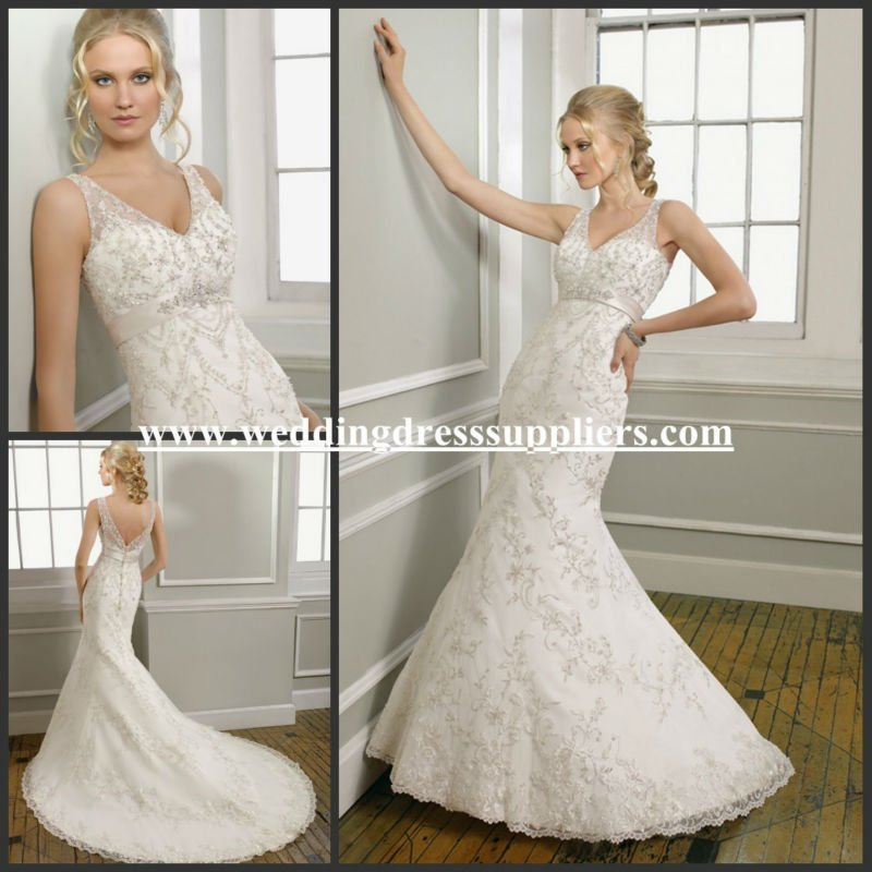 ML029 New Arrival V-neck Sheer Straps Lace Mermaid Trumpet Embroidery Designs For Wedding Dress