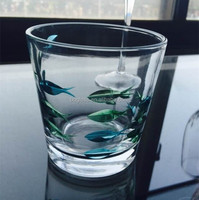 New Products Clear Colorful Fish Design China Supplier Drinking Water Glass