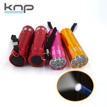 Ultra Bright Colorful OEM Mini Micro 9 LED Aluminum Flash Light waterproof push button switch led flashtorch flashlight torch