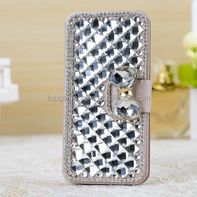 Flip diamond bling leather case For Mobile phone iPhone 5 5S