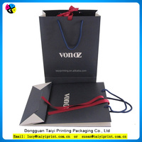 custom logo printed matt laminated black cloth shopping paper bag with handles trade assurance supplier