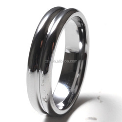 Simple wholesale cheap plain grooved tungsten ring blank