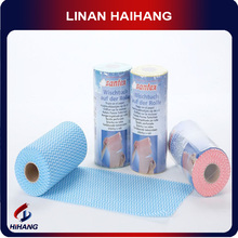 50%viscose and 50%polyester cheaper blue wave multi-function super water absorbent kitchen nonwoven fabric roll