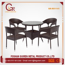 Factory price durable round pe rattan tables and chairs