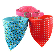 Adjustable Pet Cat Collar Dot Print Dog Scarf Collar Neckerchief PU Leather Triangle Bandanas For Dogs