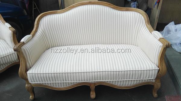 eiken houten frame bank streep stof woonkamer meubels meubelen op