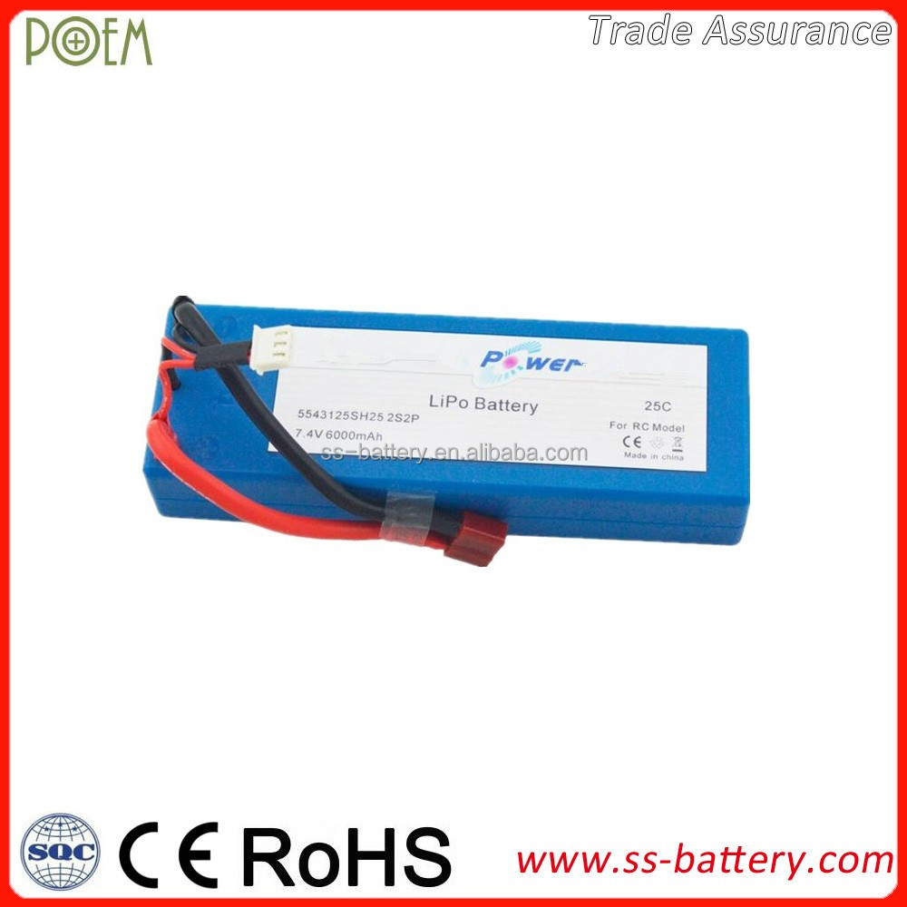 Ultra high discharge rate 20c 30c 40c 50c rechargeable rc li-ion battery 7.4v 6000mah