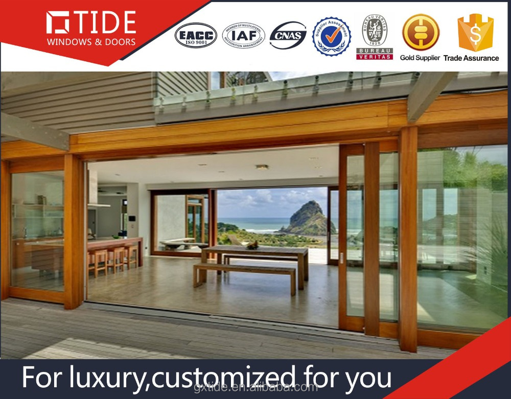 Teak wood design Low threshold Lift and sliding system for exterior doors
