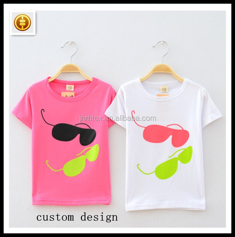 Factory price CVC printed kids led t-shirts,cute t shirts for girls