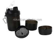 500ml Shake protein water bottle, Plastic shaker bottle with metal ball
